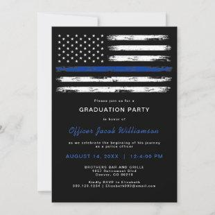 Brushed Thin Blue Line Police Office Retirement In Invitation