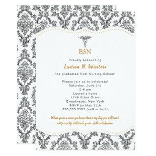 BSN Black with Gold accents graduation party, RN Invitation