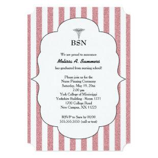 BSN Nurse graduation invites pink blush glitter