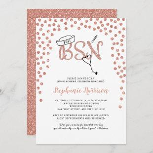BSN nurse graduation rose gold confetti pinning Invitation