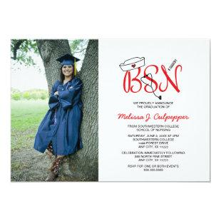 BSN Nurse photo graduation pinning party / red Invitation