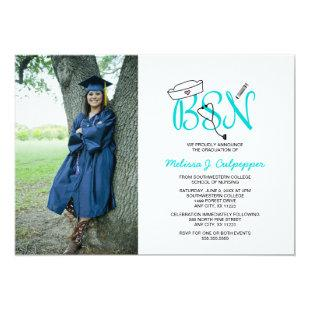 BSN Nurse photo graduation pinning party / teal Invitation
