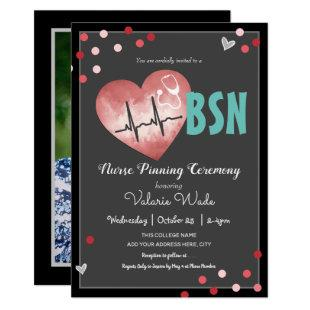 BSN Nurse Pinning Ceremony Hearts and Confetti Invitation