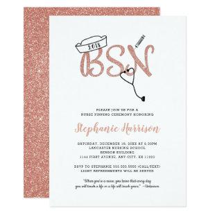 BSN pinning nurse graduation rose gold invite