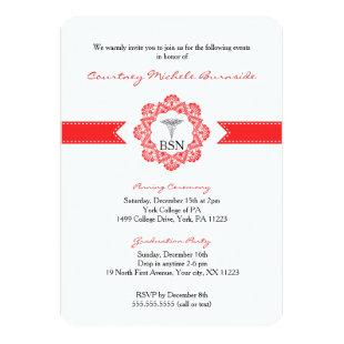 BSN RN graduation / pinning ceremony / red Invitation