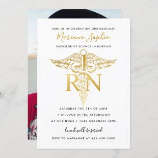 BSN RN Nurse Graduation Party Announcement Gold