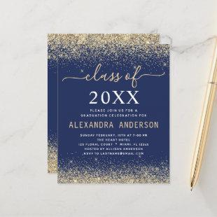 Budget 2021 Graduation Gold Navy Blue Invitation