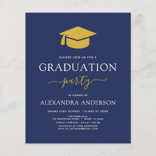 Budget 2021 Graduation Navy Blue Gold Invitation