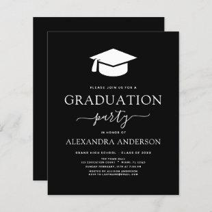 Budget 2021 Graduation Party Black Invitation