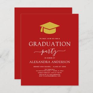 Budget 2021 Graduation Party Red Gold
