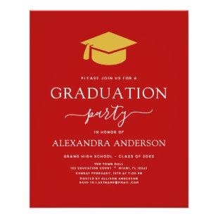Budget 2021 Graduation Party Red Gold Flyer