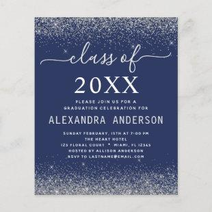 Budget 2021 Navy Blue Silver Graduation Invitation