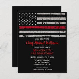 Budget Firefighter Retirement Thin Red Line Invite