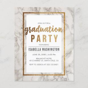 Budget Gold & Marble Typography Graduation Party