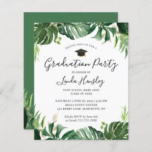 Budget Greenery Tropical Graduation Party Invite