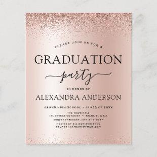 Budget Rose Gold Pink 2021 Graduation Glitter