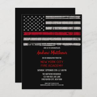 Budget Thin Red Line Firefighter Graduation Invite