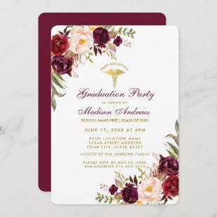 Burgundy Floral Gold Medical Grad Party Invite