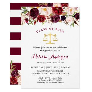 Burgundy Floral Law School Graduation Party Invitation