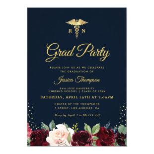 burgundy floral Nursing school graduation party Invitation