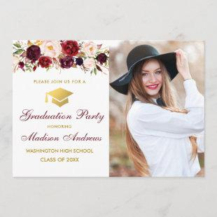 Burgundy Floral Photo Gold Graduation Party Invite