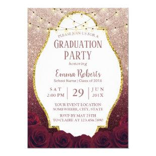 Burgundy Floral Rose Gold Glitter Ombre Graduation Invitation