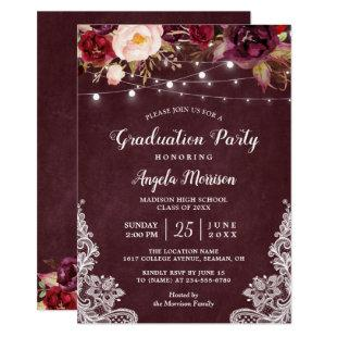 Burgundy Floral String Light Lace Graduation Party Invitation