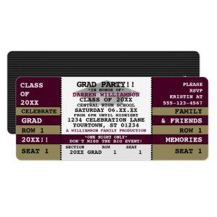 Burgundy|Gold Concert Ticket Grad Party Invitation