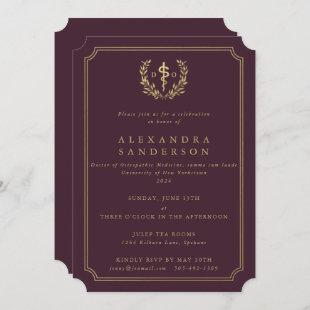 Burgundy/Gold Doctor of Osteopathic Medicine  Invitation
