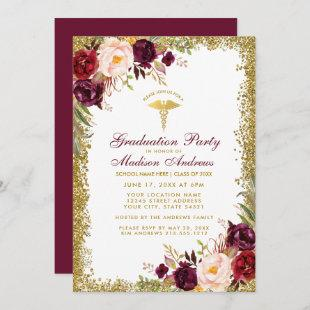 Burgundy Gold Glitter Medical Grad Party Invite