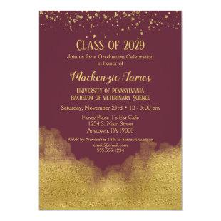 Burgundy Gold Graduation Party Invitation