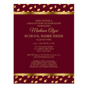 Burgundy Gold Graduation Party Invitation Postcard