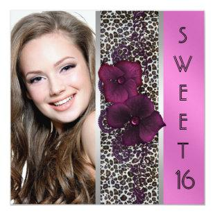 Burgundy Hot Pink Leopard Photo Sweet Sixteen Invitation