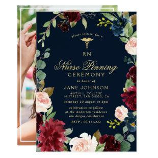 burgundy navy floral Nurse pinning ceremony Invitation