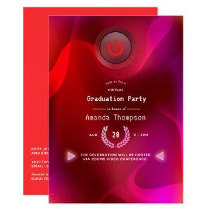 Burgundy Red and Pink Virtual Graduation Party Invitation