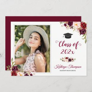 Burgundy Red Floral Grad Photo Graduation Party Invitation