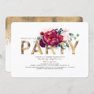 Burgundy Red Flowers and Gold Graduation Party Invitation