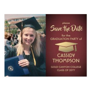 Burgundy Red Gold Photo Graduation Save the Date Postcard