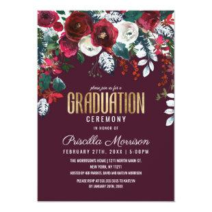Burgundy Red Ivory Floral Arrangement Graduation Invitation