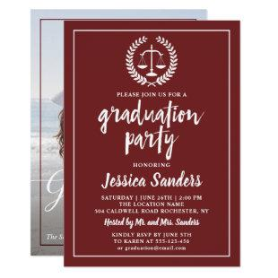 Burgundy Red Law School Graduation Party Photo Invitation