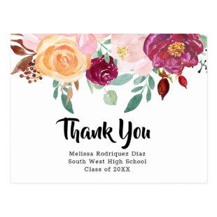 Burgundy Watercolor Floral Graduation Thank You Postcard