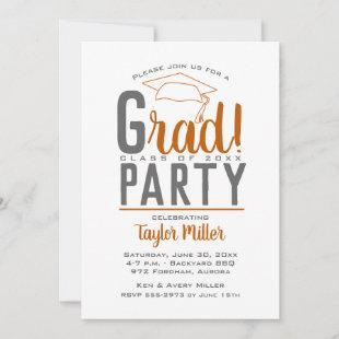 Burnt Orange and Gray Graduation Party Invitations