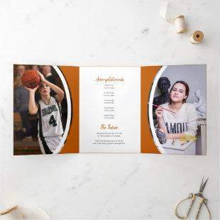 Burnt Orange Curved Frame Three Photo Graduation Tri-Fold Invitation