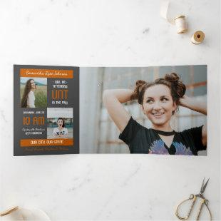 Burnt Orange Modern Block 5-Photo Graduation Tri-Fold Invitation