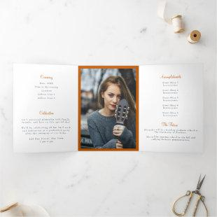 Burnt Orange Tassel Graduation Photo Tri-Fold Invitation