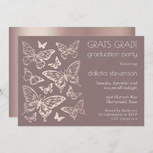 Butterfly Chic Graduation | Copper Rose Gold Invitation