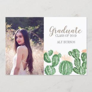 Cactus succulent graduation party invite