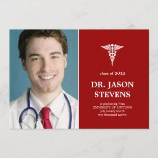 Caduceus Medical Graduation Photo Invitation