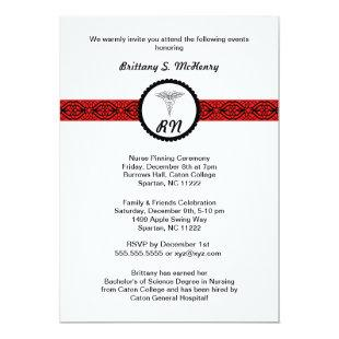 Caduceus Nurse Graduation Invite Black & Red RN