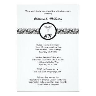 Caduceus Nurse Graduation Invite Black & White RN